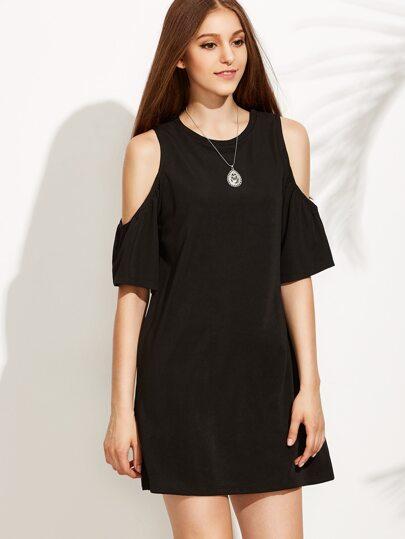 Black Open Shoulder Shift Dress