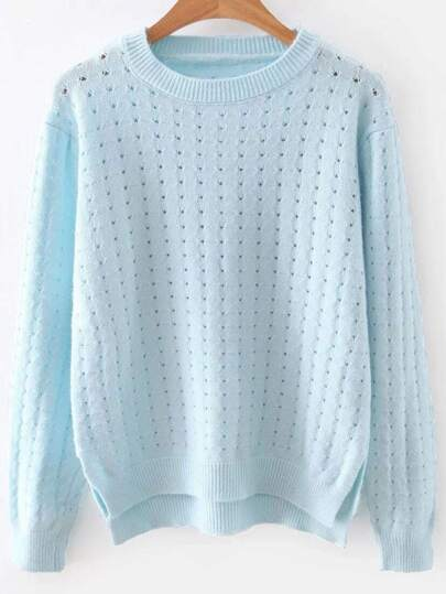 BlueHollowOutDipHemSweater
