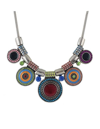 Colorful Beads Round Statement Necklace