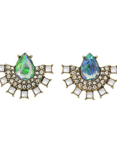 Colorful Rhinestone Fan Shape Stud Earrings