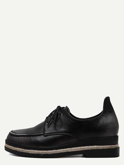 Espadrille Schuhe Kunstleder mit Schnürband - dunkel grau