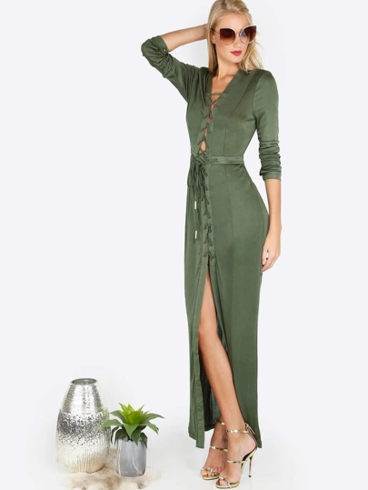 Sleeved Strappy Maxi Dress OLIVE