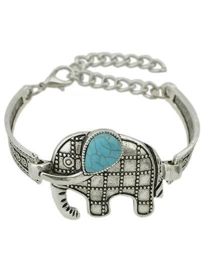 Tibetan Design Silver Color Imitation Turquoise Elephant Wrap Bracelet