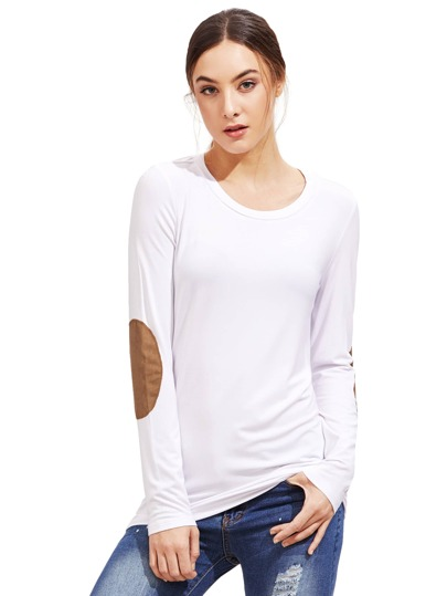 White Long Sleeve Elbow Patch T-Shirt