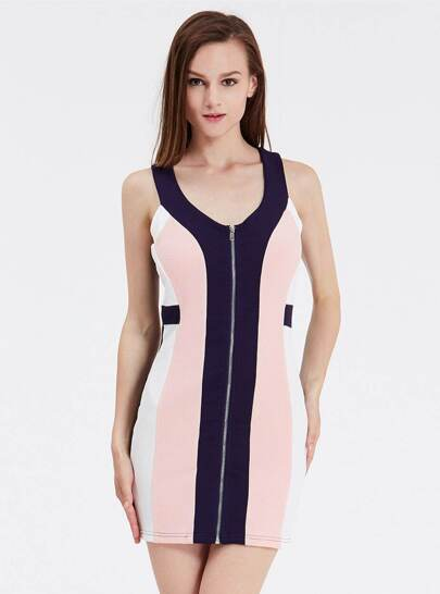 Navy Sleeveless Color Block Zippered Dress
