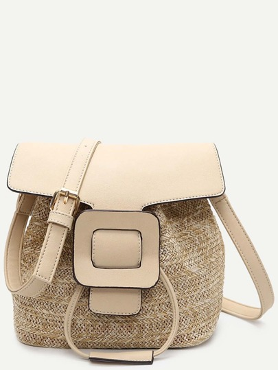 Beige Straw Saddle Bag