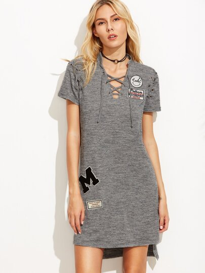 Grey Marled Knit Lace Up Dress With Embroidered Patch
