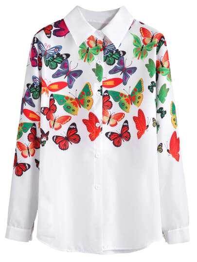 Camisa con estampado de mariposa - blanco