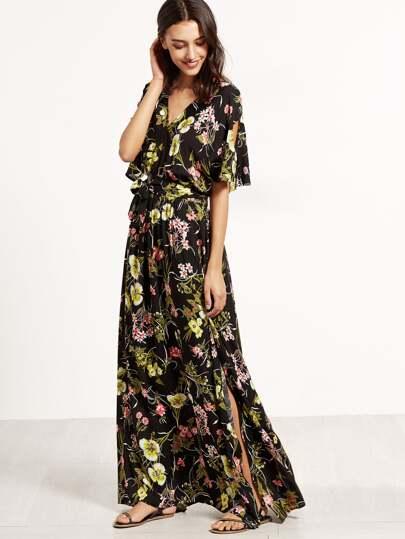 Floral Print Split V Neck Wrap Maxi Dress