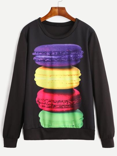 Black Macaron Print Sweatshirt