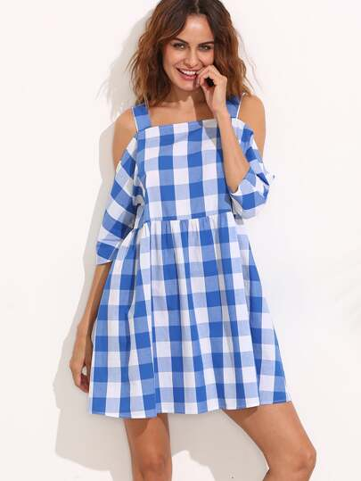 Blue and White Gingham Cold Shoulder Dress