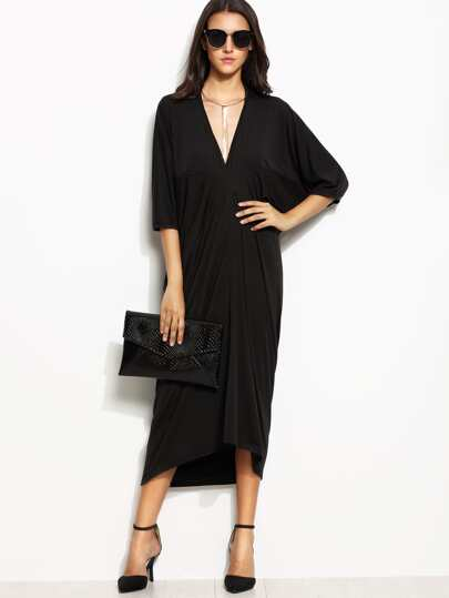 Black Deep V Neck Batwing Sleeve Dip Hem Dress