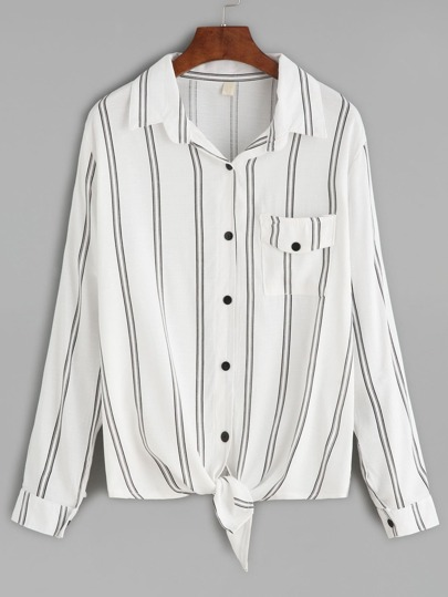 White Vertical Striped Roll Tab Sleeve Tie Front Shirt