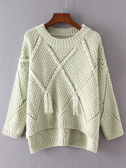 Green Diamond Pattern Tassel Dip Hem Sweater