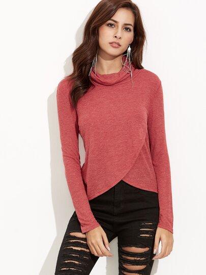 Camiseta cruzada con cuello vuelto holgado - rojo