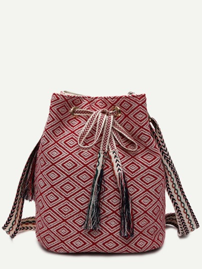 Red Meande Pattern Canvas Bucket Bag