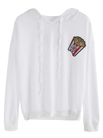 White Chips Embroidered Patch Hooded Sweatshirt