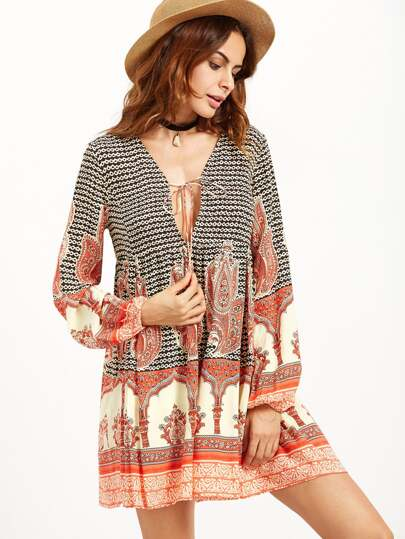 Tribal Print Deep V Neck Lace Up Dress