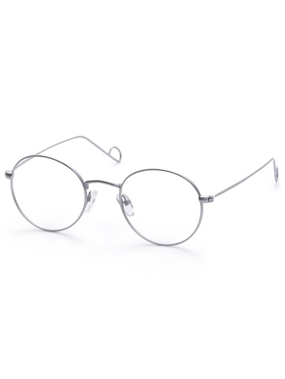 Silver Metal Frame Round Clear Lens Glasses