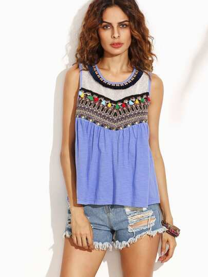 Blue Embroidered Tape Detail Tank Top