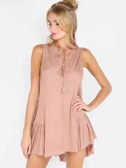 Tassel Drop Dress TAUPE
