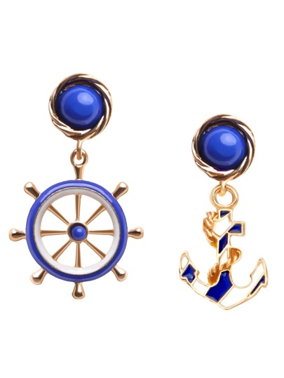 Blue Asymmetric Fashion Anchor Earrings