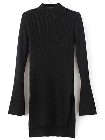 Black Crew Neck Bell Sleeve Side Slit Dip Hem Sweater