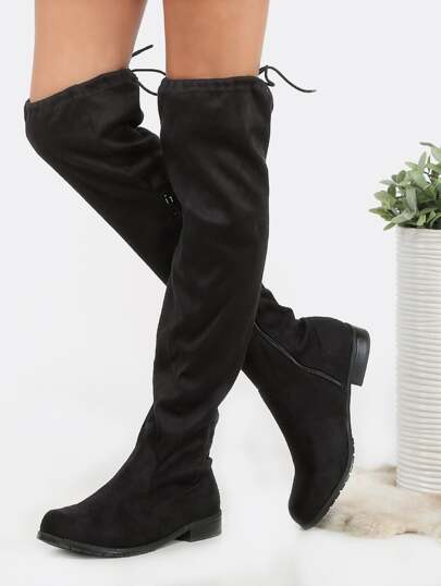 Round Toe Suede Flat Thigh Boots BLACK