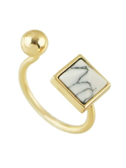 Gold New Coming Imitation Turquoise Cuff Finger Ring
