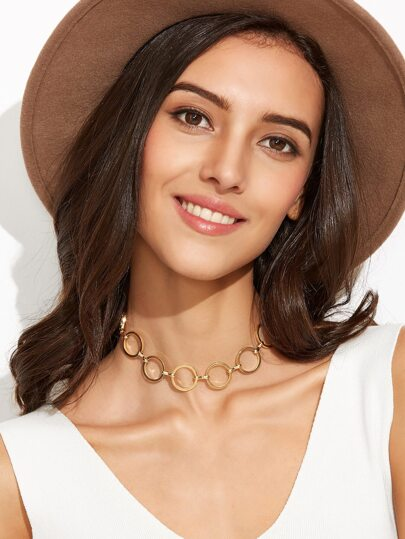 Gold Plated Alloy Circle Hollow Out Choker Necklace