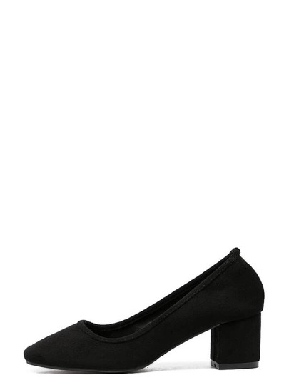 Black Faux Suede Round Toe Mid Heel Chunky Pumps