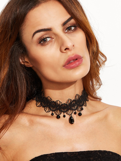 Vintage Black Gemstone Lace Choker Necklace
