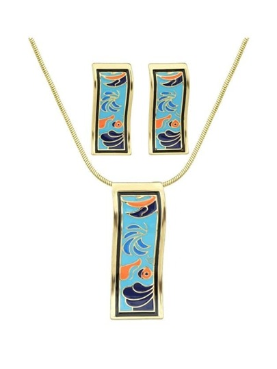 Blue Enamel Geometric Pattern Necklace Earrings Set