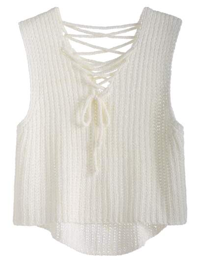 White Lace Up High Low Knit Vest