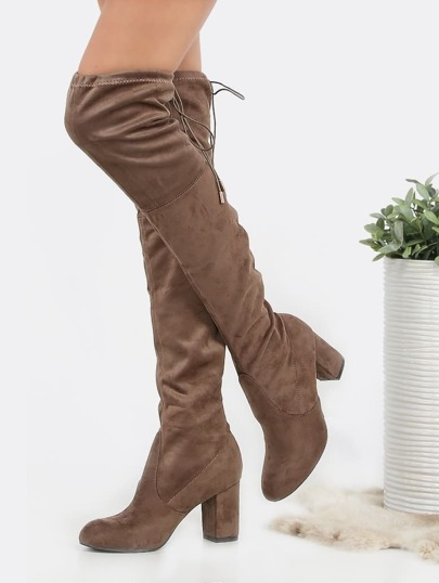 Drawstring Chunky Heel Thigh Boots TAUPE