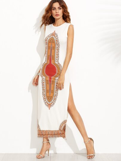 White Tribal Print Slit Sheath Dress
