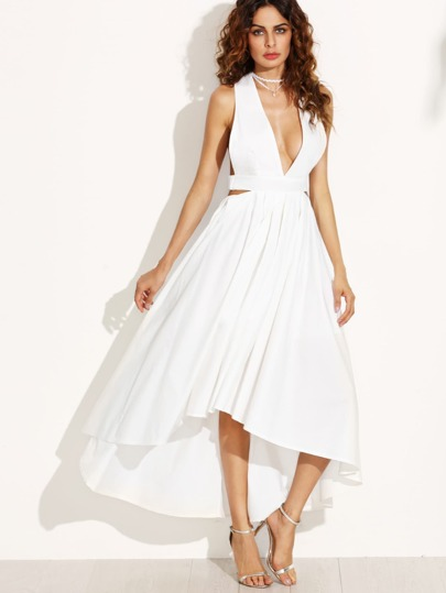 White Deep V Neck Open Back High Low Dress