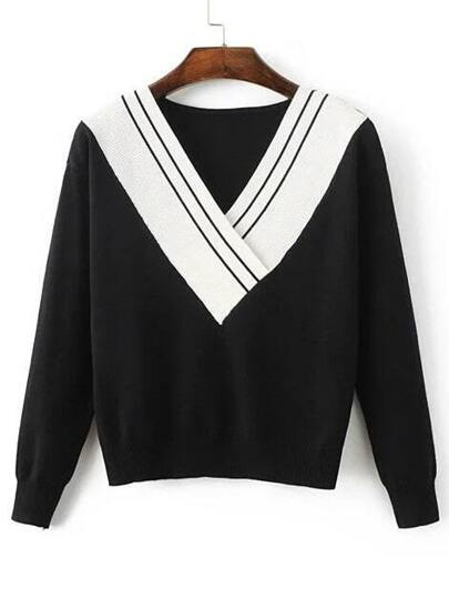 Black Contrast V Neck Knit Sweater