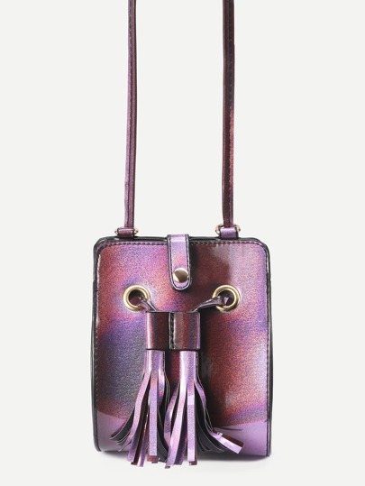 Purple Iridescent Structured Tassel Drawstring Crossbody Bag
