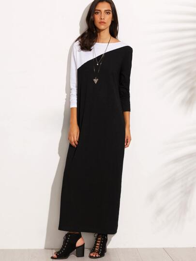 Black Contrast Panel Long Sleeve Shift Dress