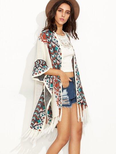 White Geometric Print Tassel Pancho Sweater