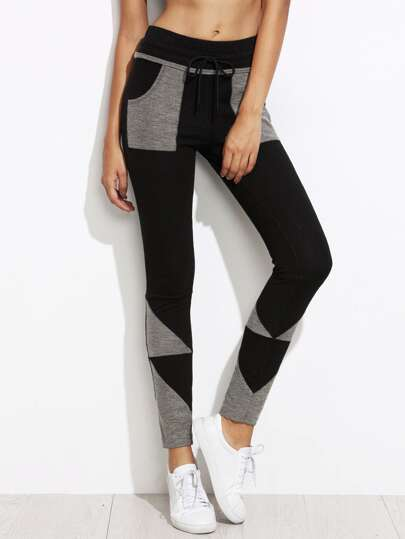 Black Contrast Geo Patch Skinny Drawstring Jersey Pants