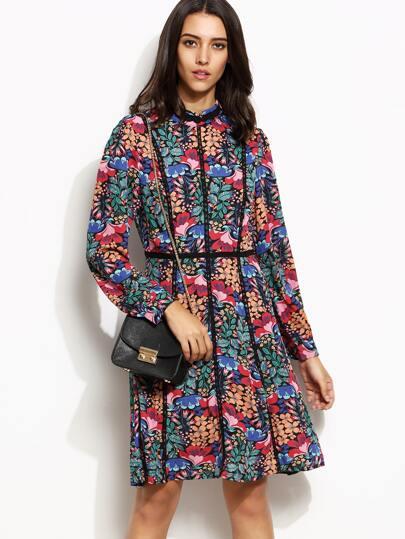 Multicolor Floral Print Lace Trim Long Sleeve Dress