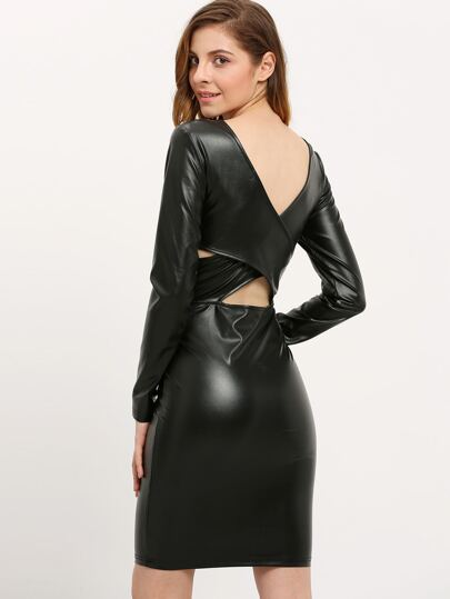 Black Long Sleeve Backless Sheath Dress