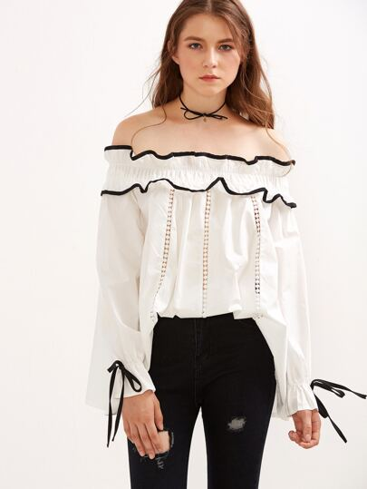 White Off The Shoulder Contrast Trim Eyelet Ruffle Top