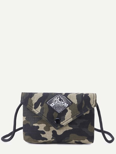 Camouflage Faux Leather Envelope Bag