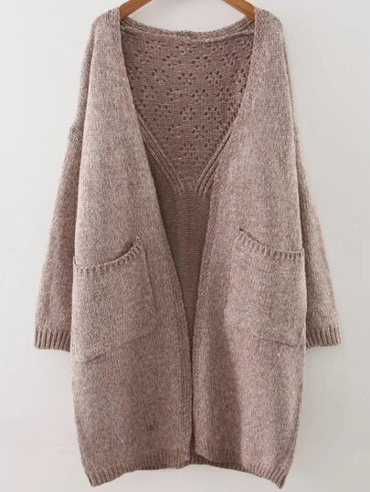 Khaki Hollow Out Drop Shoulder Pocket Long Sweater Coat