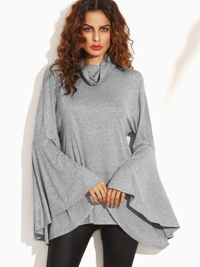 Grey Cowl Neck Split Back Bell Sleeve Sweatshirt