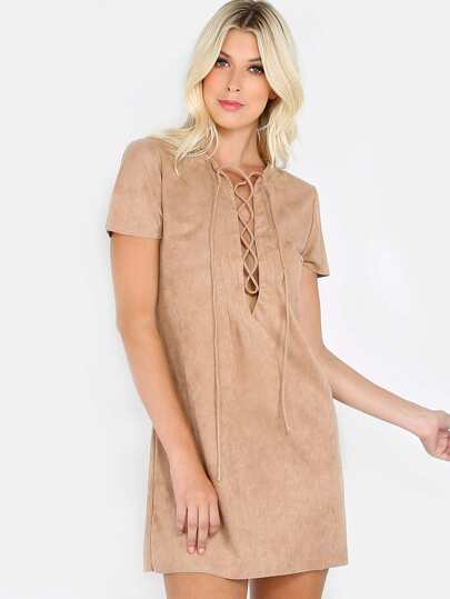 Faux Suede Lace Up Dress COGNAC