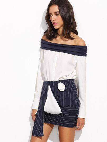 Color Block Off The Shoulder Top With Asymmetrical Skirt